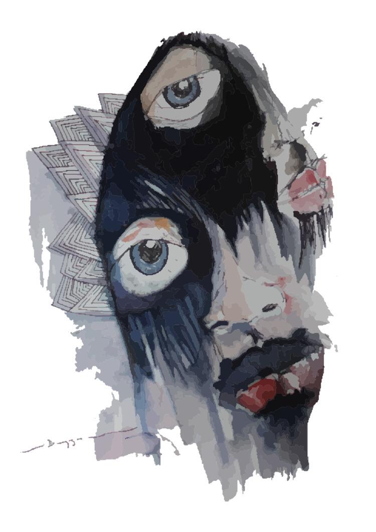 cry, eyes, watercolor, pen, illustration - duyguvatan | ello