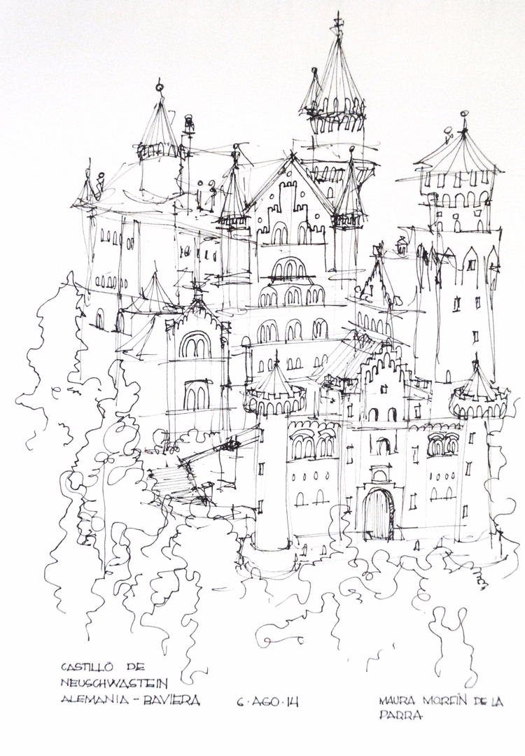 Boceto del Castillo de Neushwas - maura2193 | ello
