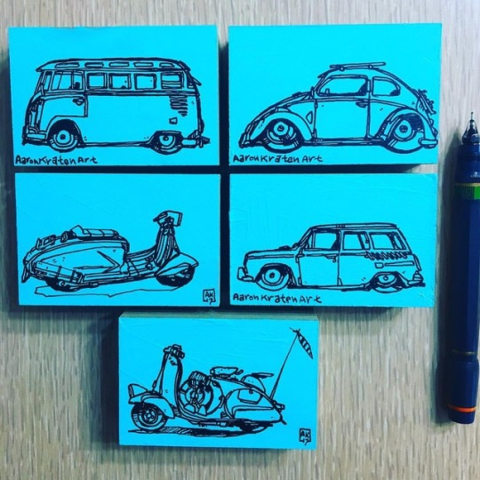 air cooled inks - volkswagen, vespa - aaronkraten | ello