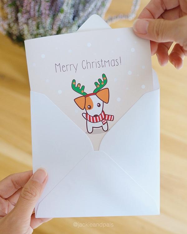 Put smile dog face Christmas - dogchristmascard - gohlikim   ello