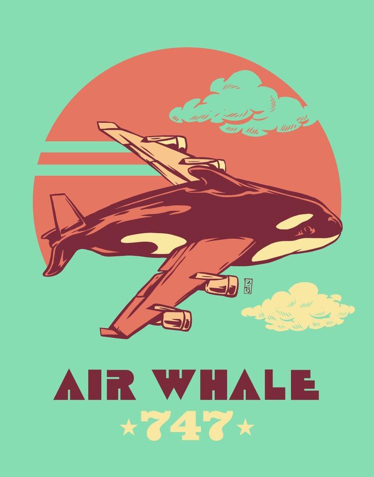 Air Whale 747 - illustration - thomcat23 | ello