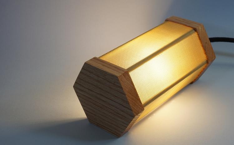 Hex Uplight. lamp, red oak bras - darkc_studio | ello