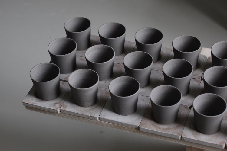 Espresso cups thrown blue black - elliottceramics | ello