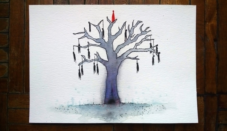 Winter tree. Ink + Watercolor p - agustinp | ello