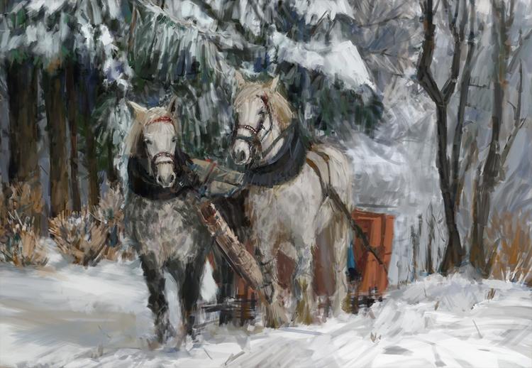 Winter Horses Sketch, photo stu - mujkicharis | ello