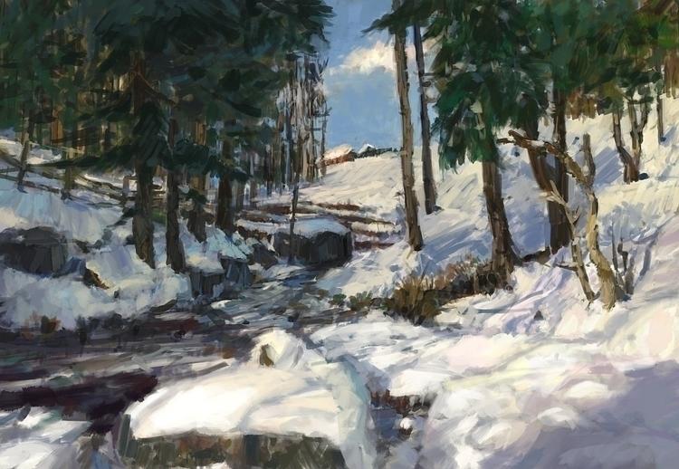 Frozen creek Sketch, photo stud - mujkicharis | ello