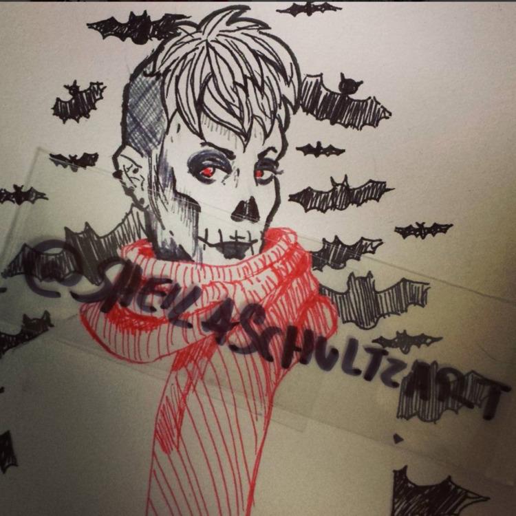 halloween, skull, illustration - sheilaschultzart | ello