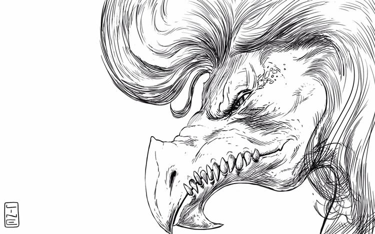 drew dragon HAIR! -Line - linedetail | ello
