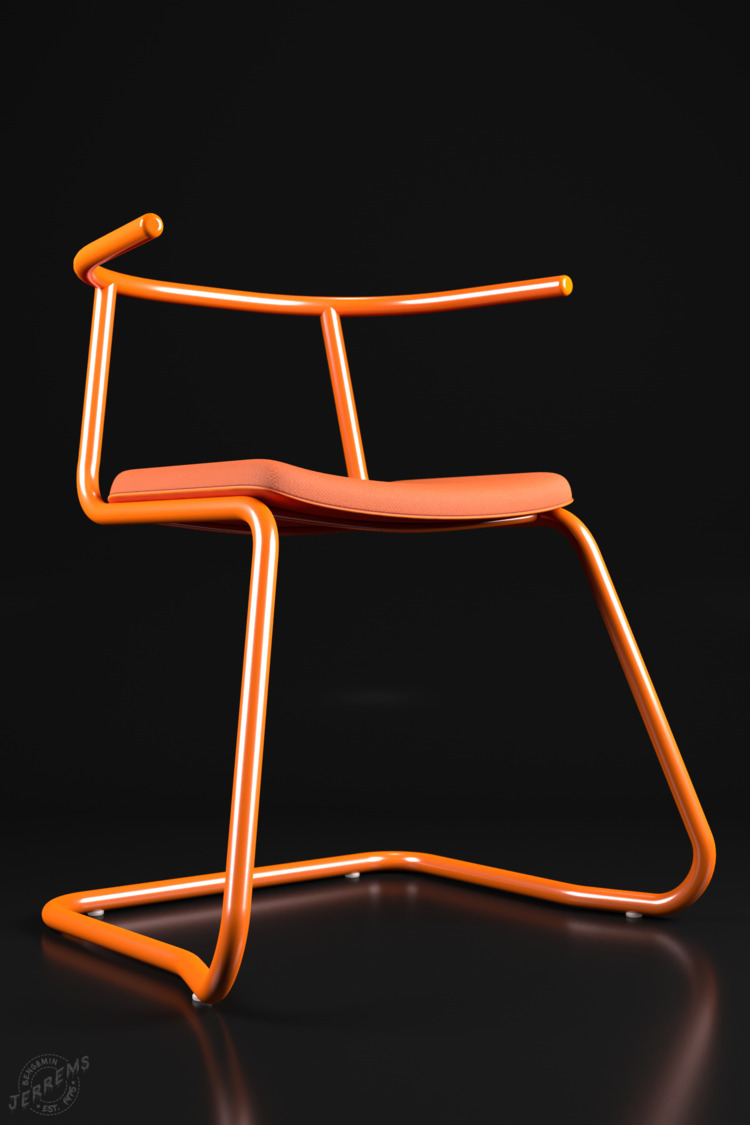 'Orange Chair'  - coronarender, - bengaminjerrems | ello