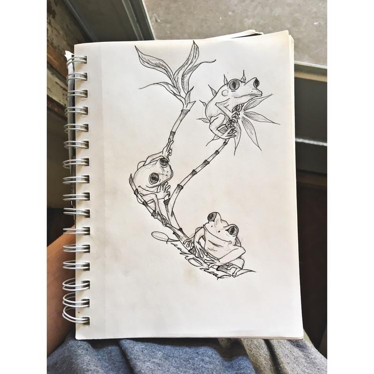 frog, bamboo, tattooworthy, pen - umymnm | ello