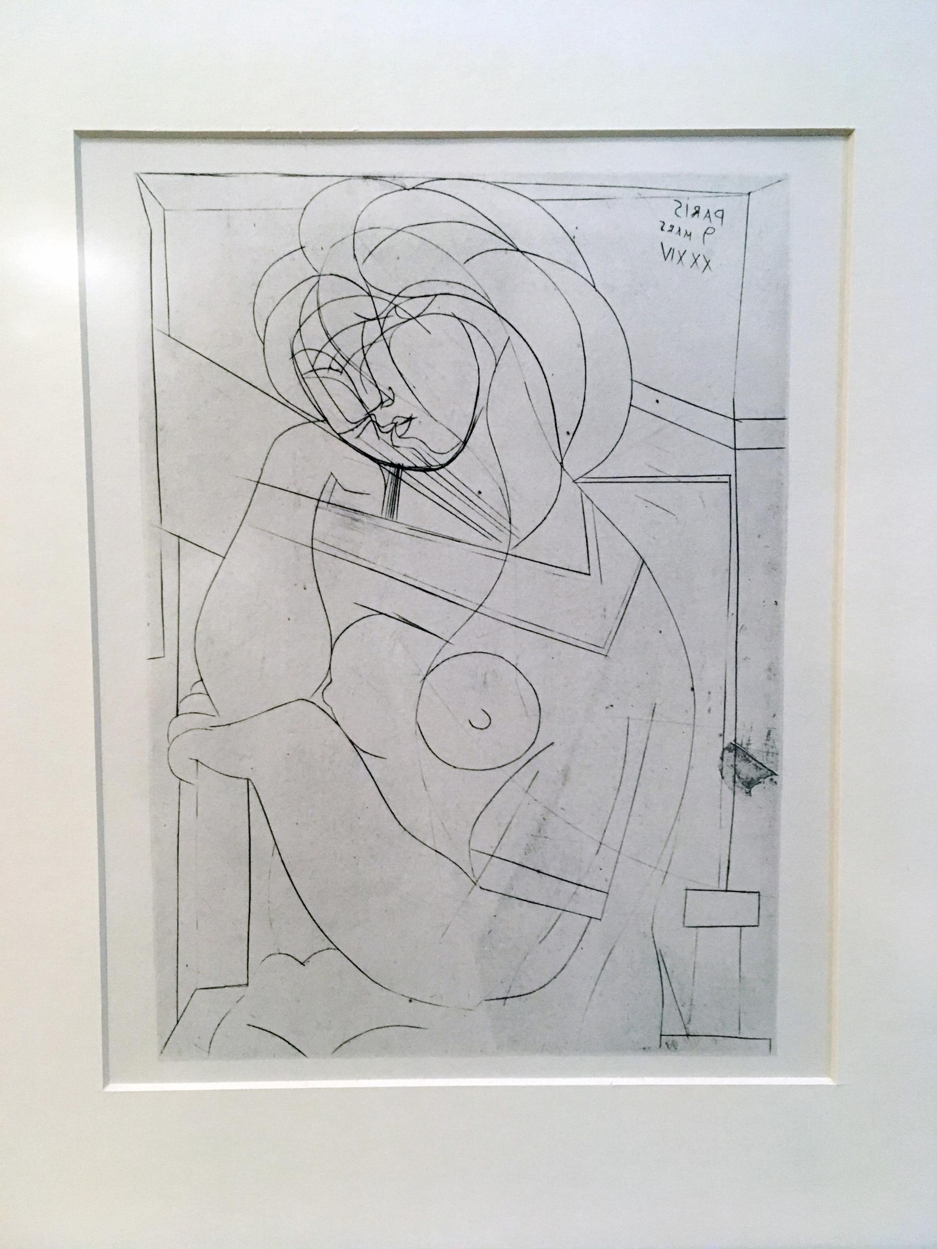 Zdjęcie przedstawia rysunek kobiety podpierającej głowę ręką.