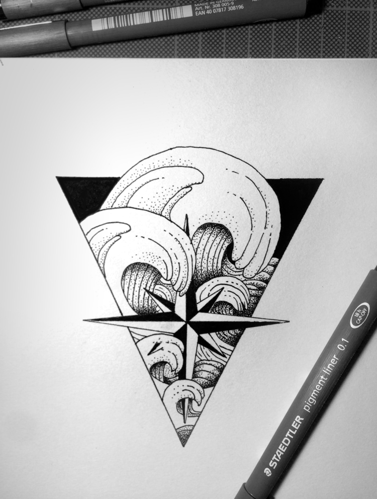 WAVES, nature, leaftattoo, tattooideas - massimorinaldi27 | ello