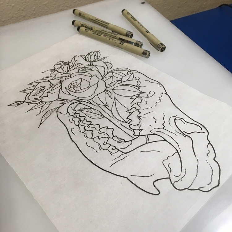 Wolf skull roses. Perfect minut - levigreenacres | ello