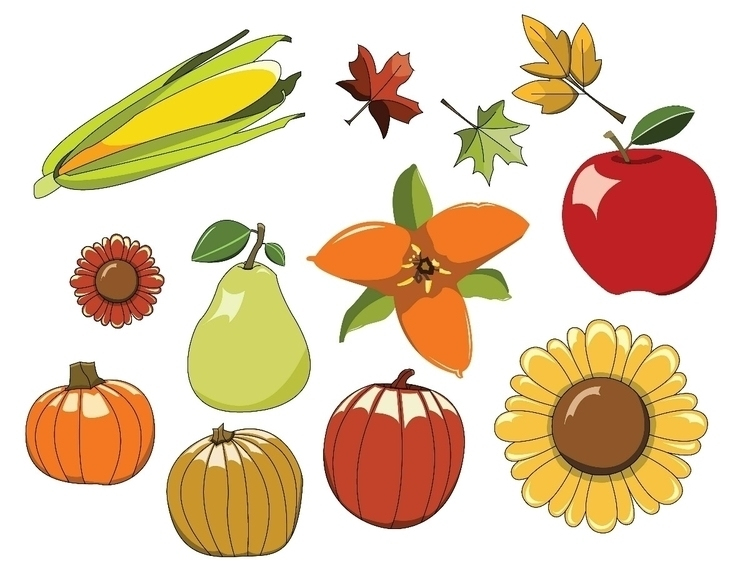 collection Autumn objects flowe - digitalillustration | ello