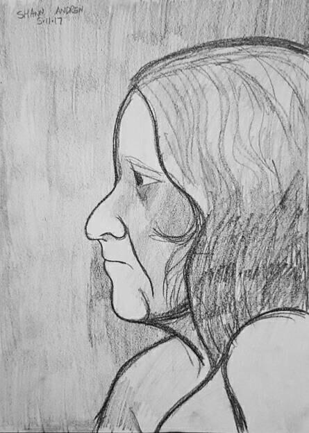 Female profile study - Conté pe - shawnartist | ello