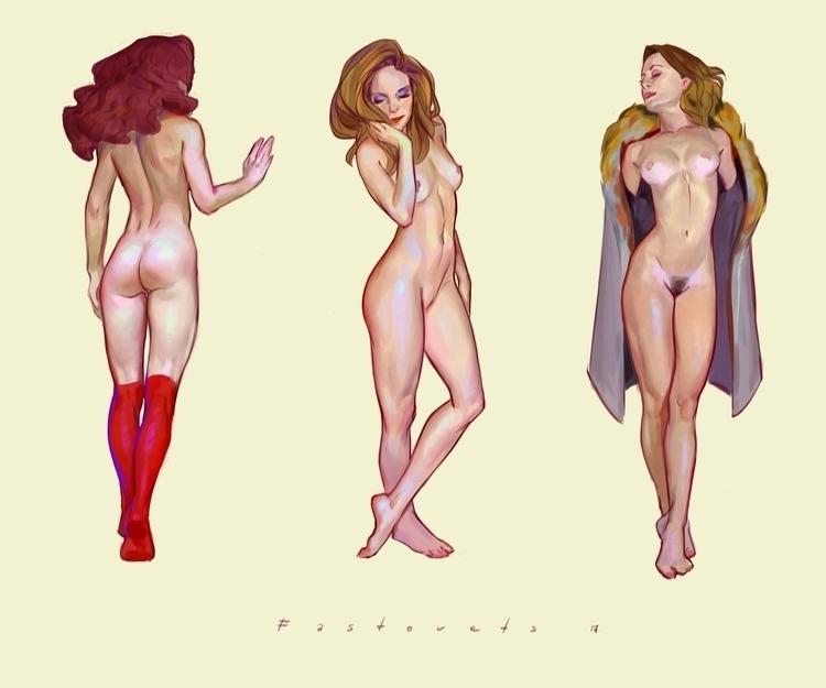 art, nude, girl, color, digitalart - hanukafast | ello