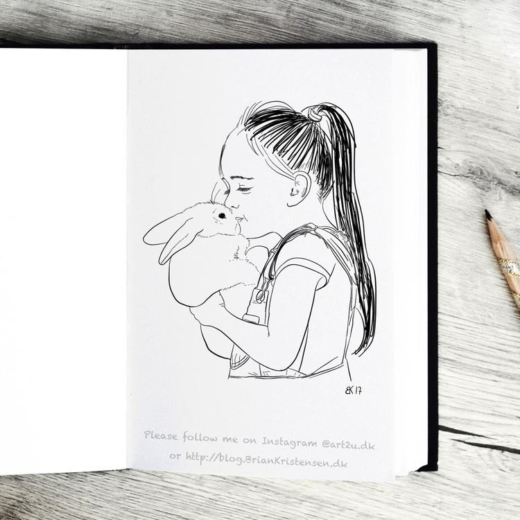 Drawing - girl, kissing, bunny - art2u | ello