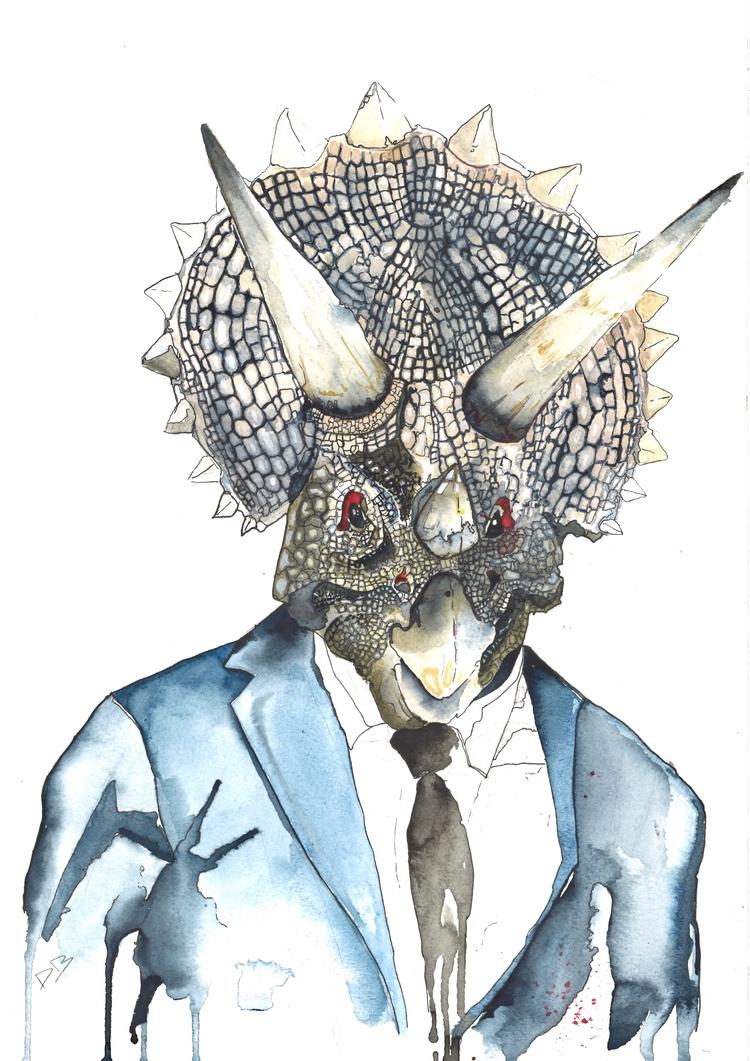 Archibald Triceratops - illustration - danielberryart | ello