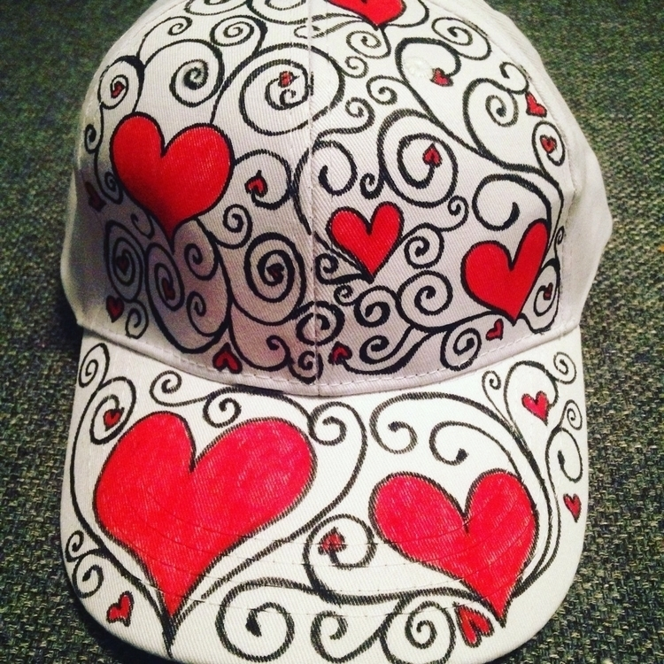 Red heart hand drawn hat. $20 $ - thathatstudio | ello
