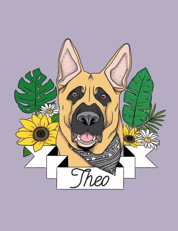 Theo German Shepherd - art, illustration - babya | ello