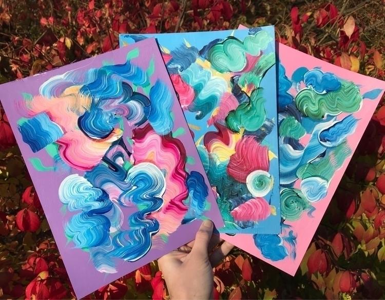 "3 abstractions 9 12"" acrylic pa - dhuston | ello"