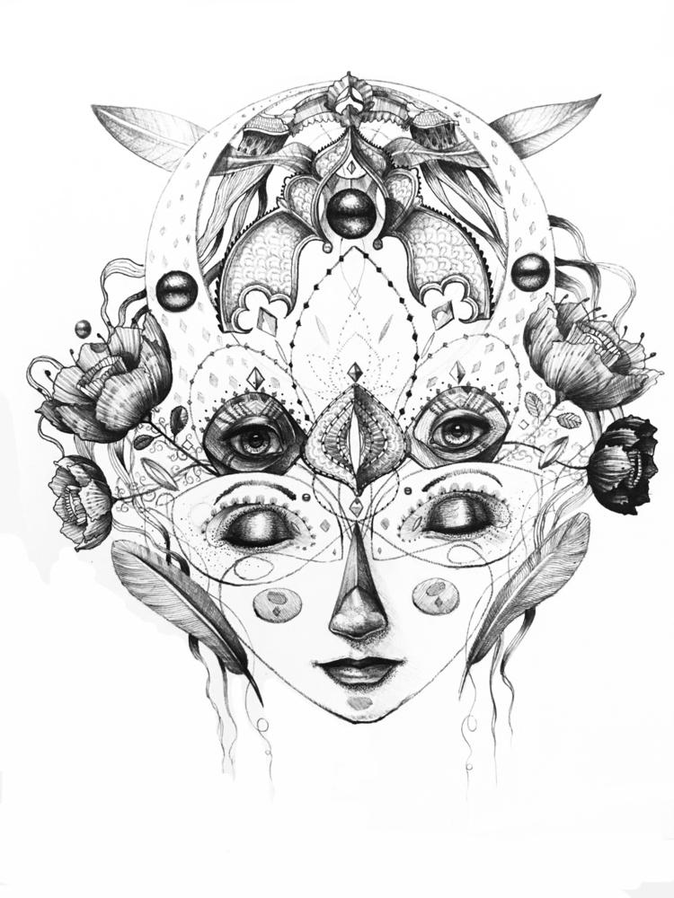 """Dreamed reality"" biro paper - drawing - trinkl   ello"
