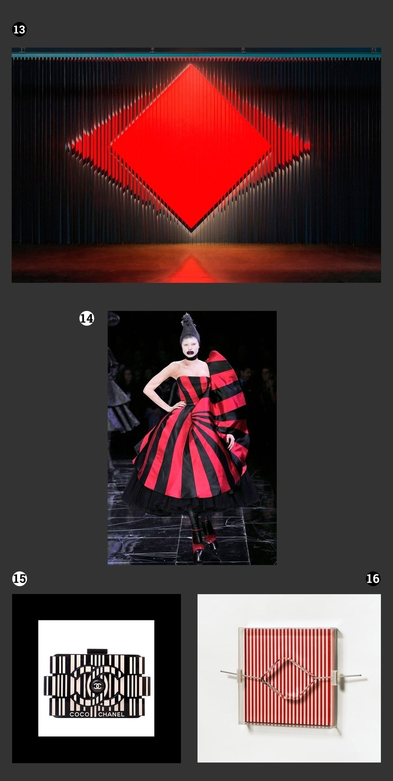 Obraz przedstawia fotografie prac znanych artystów, widzimy też zdjęcie modelki na wybiegu ubranej w suknie w czarno-czerwone pasy.