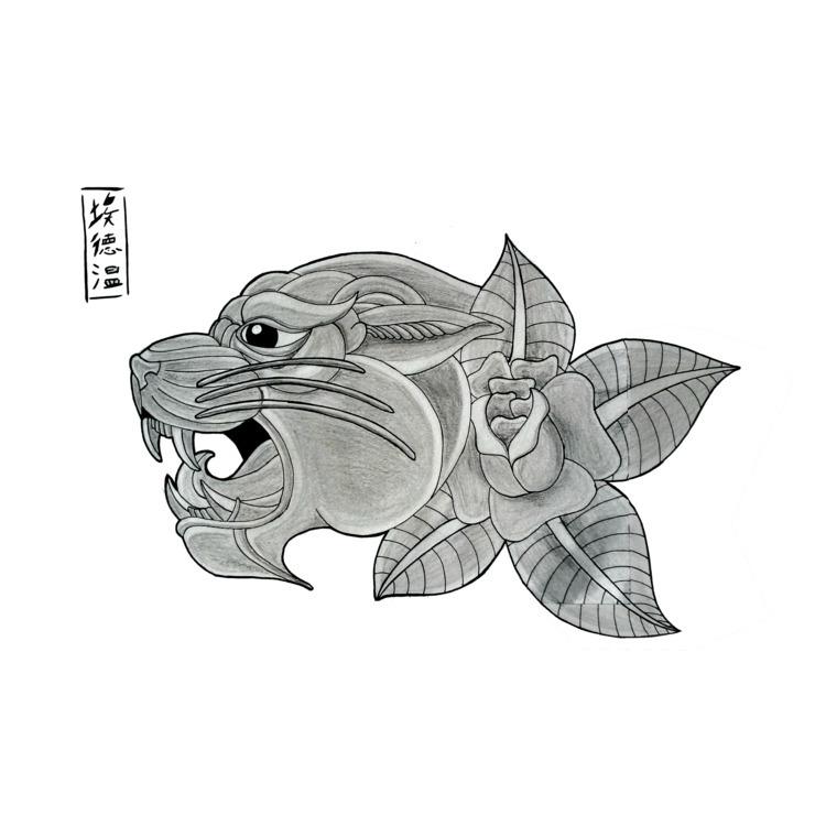 Tattoosketch Panther rose (68)  - edwln | ello