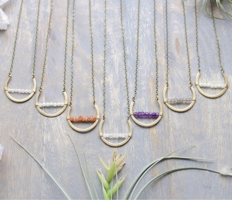 Gemstone crescent necklaces Ets - emmandflow | ello
