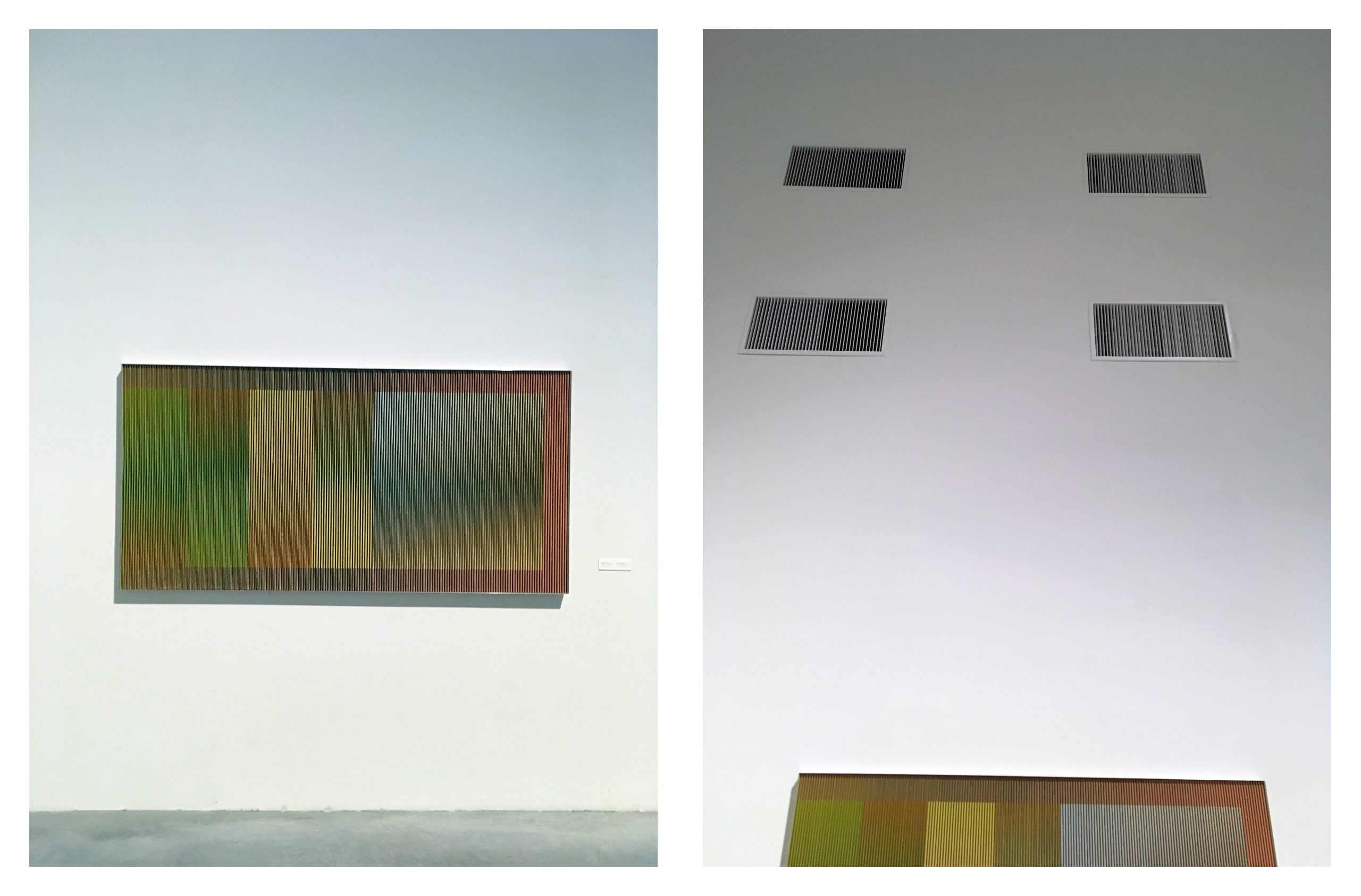 Obraz przedstawia dwa zdjęcia, które ukazują obraz znanego artysty zawieszony na białej ścianie.