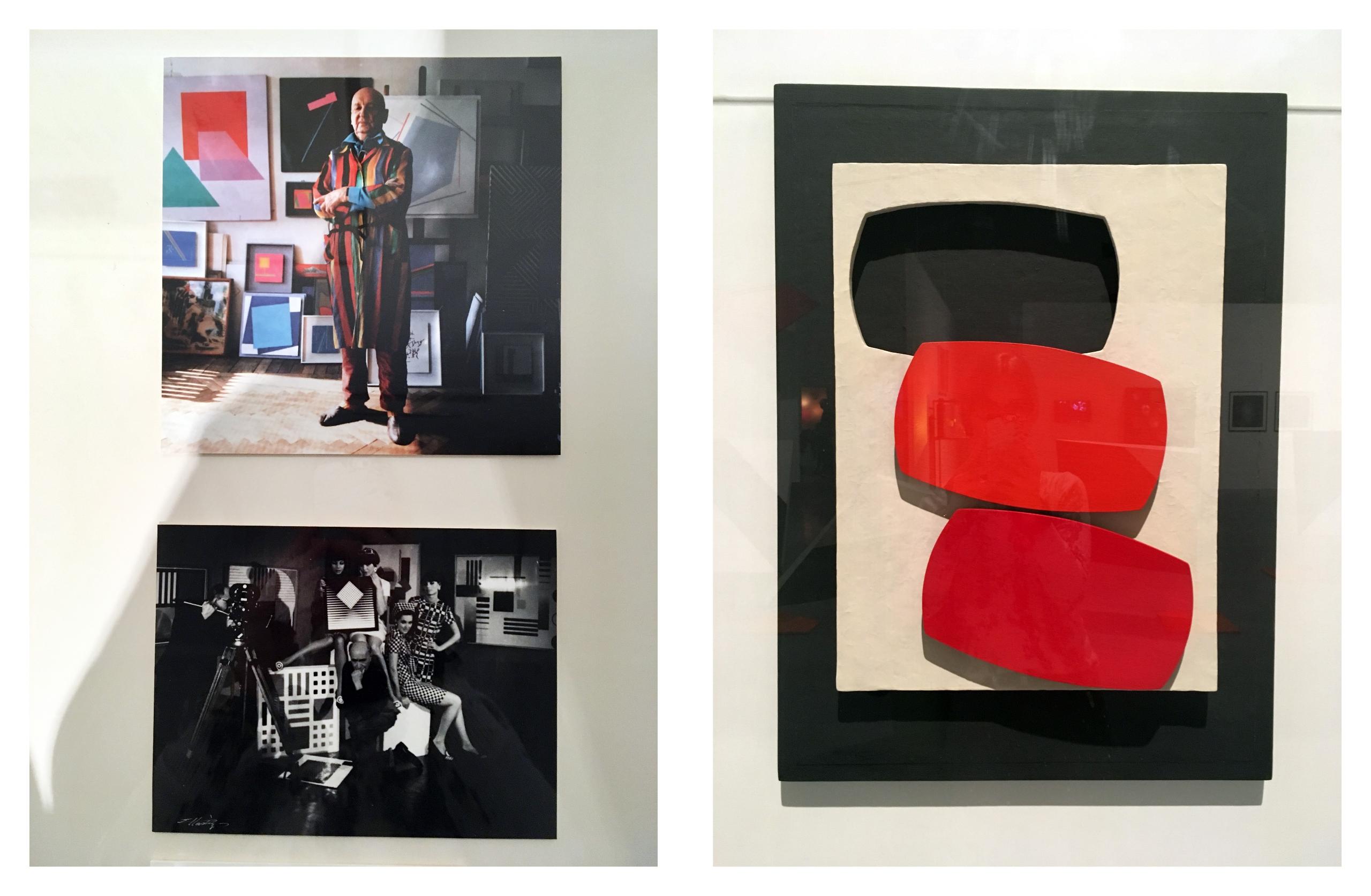 Obraz przedstawia trzy fotografie. Na zdjęciach z prawej strony widzimy sylwetki ludzkie, z lewej pracę artystyczną przedstawiającą figury geometryczne czarne i czerwone.
