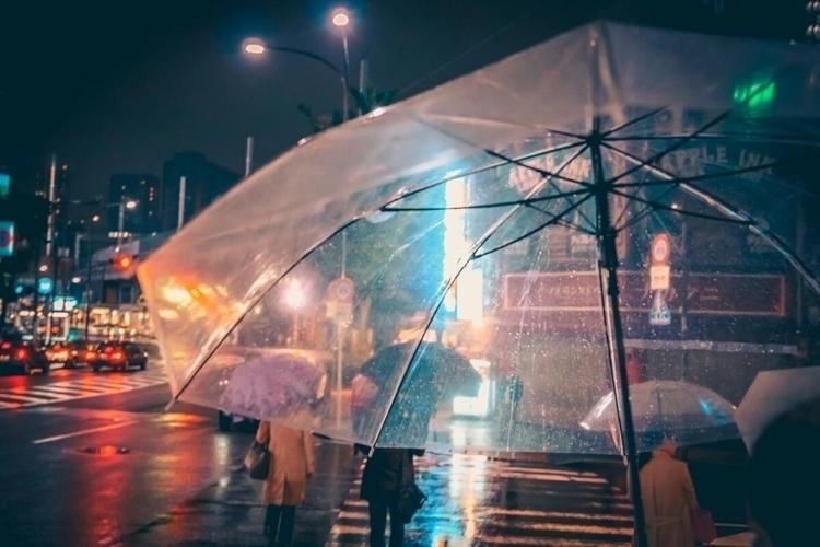 Rain drops umbrellas shiny neon - fokality | ello