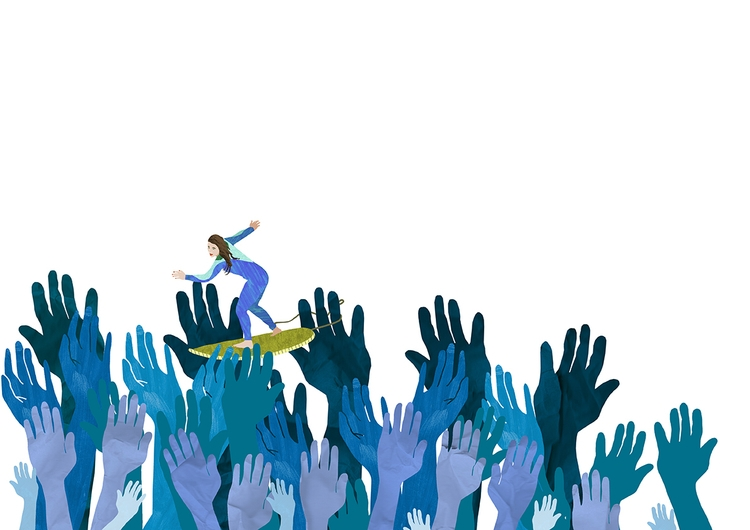 Crowdsurfing - illustration, illustrator - ellis__d | ello