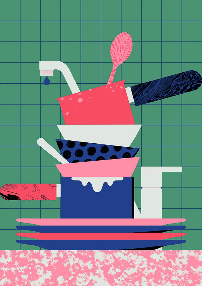 Dirty dishes 2 - illustration, design - alconic | ello