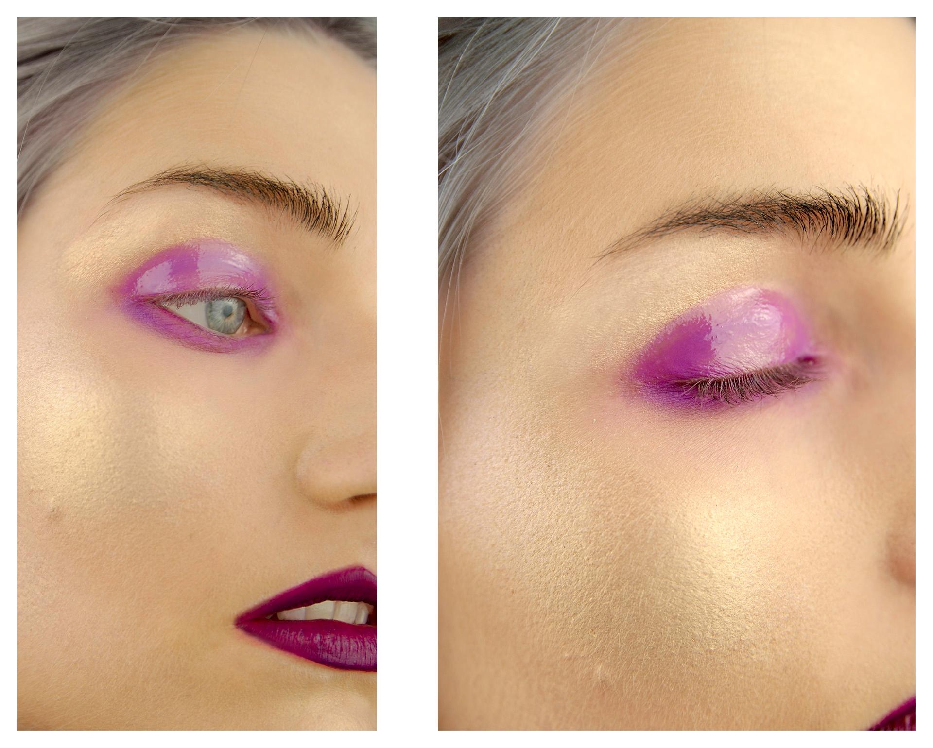 Obraz przedstawia dwa zdjęcie fragmentu kobiecej twarzy wraz z okiem w fioletowym makijażu. Na zdjęciu po prawej powieka jest zamknięta.