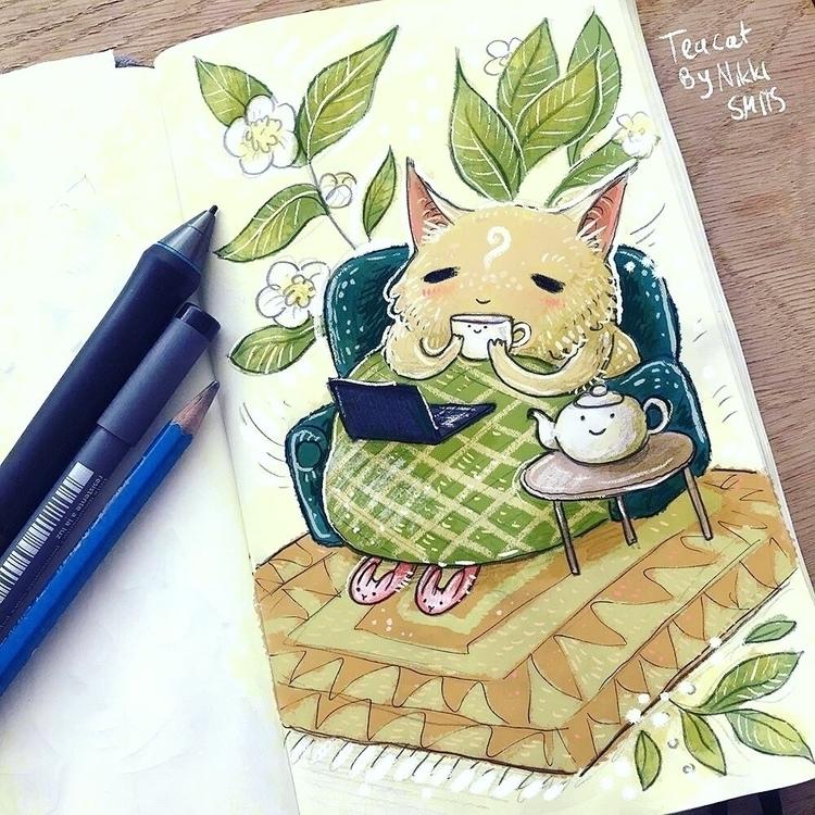 Teacat :3 - teacat, tea, cat, ellocats - nikkismitsillustration | ello