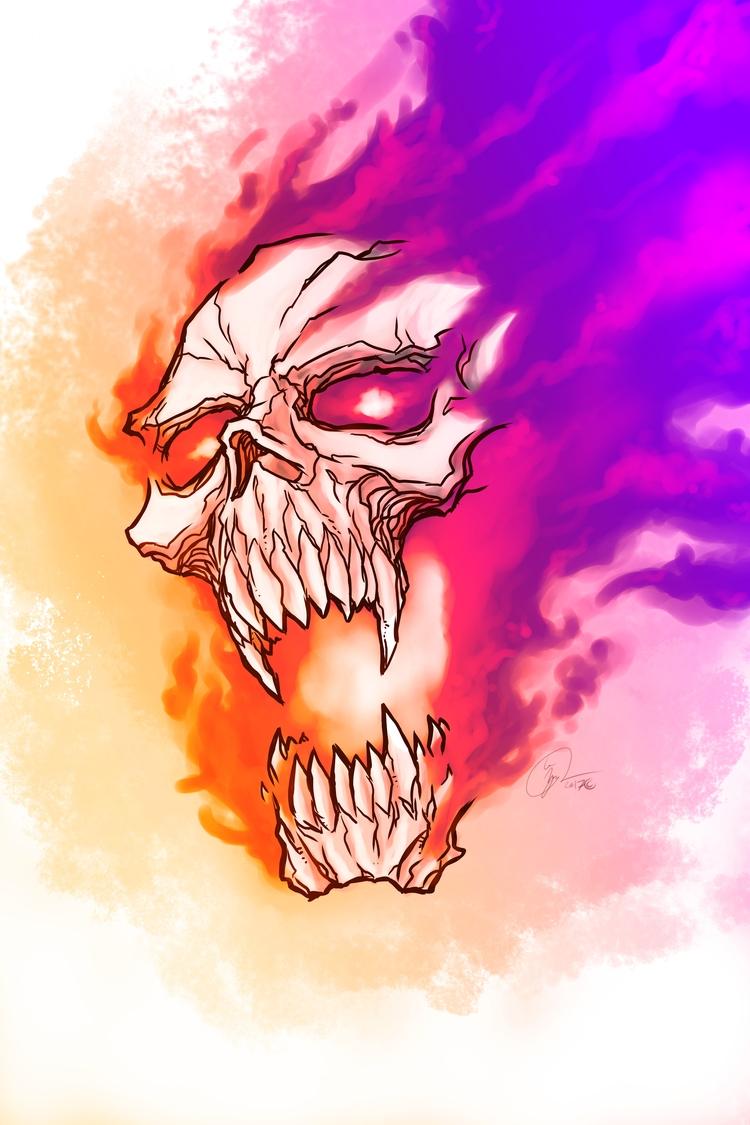 Flame - Skull, SurfaceArt, Drawing - locnguyen | ello
