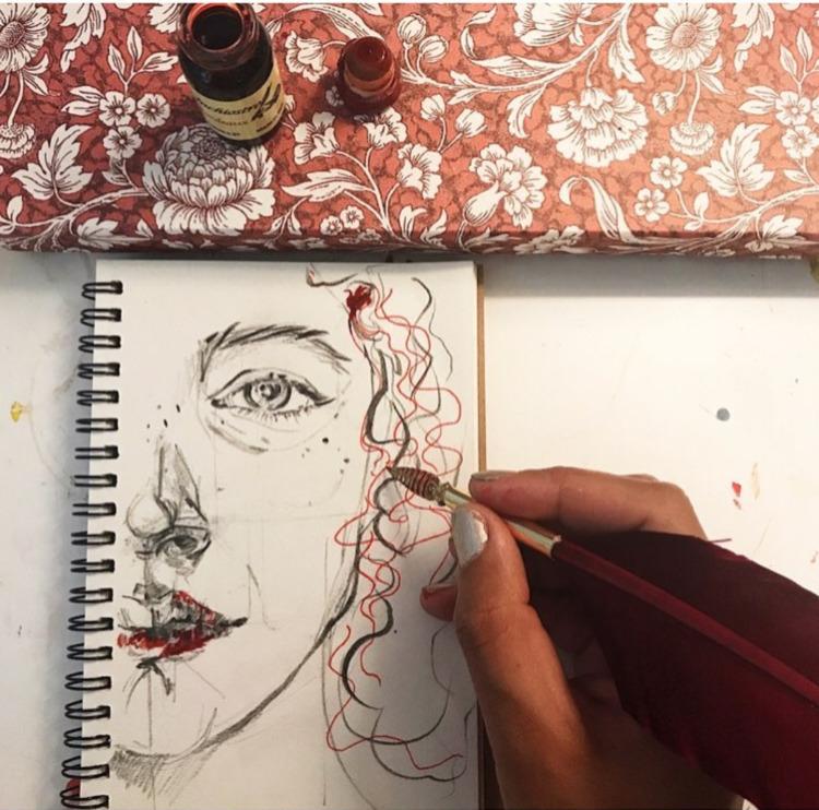 Italy.  - inchiostro, ink, selfportrait - crystalfischetti | ello