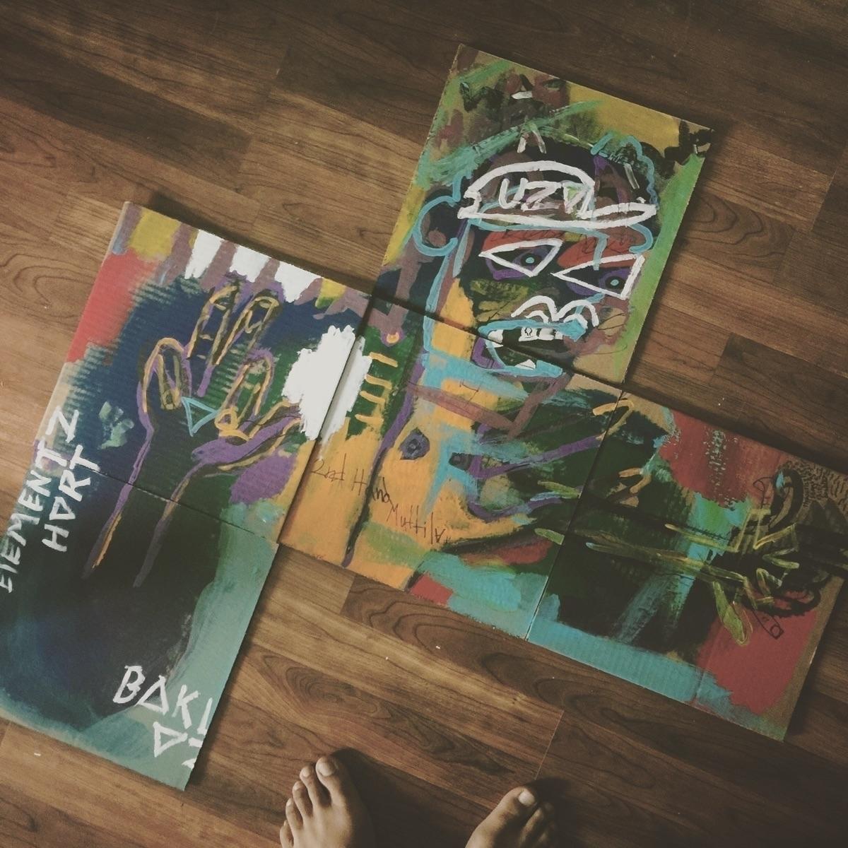 art, acrylic, cardboard, 5panel - dreamsislucid   ello