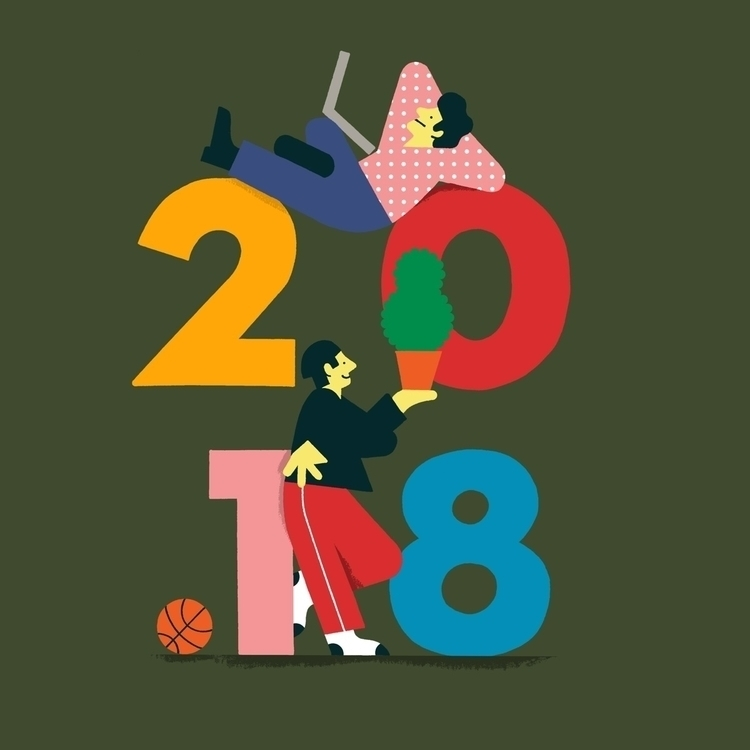 Goodbye 2017, 2018 - illustration - andrewwerdna | ello