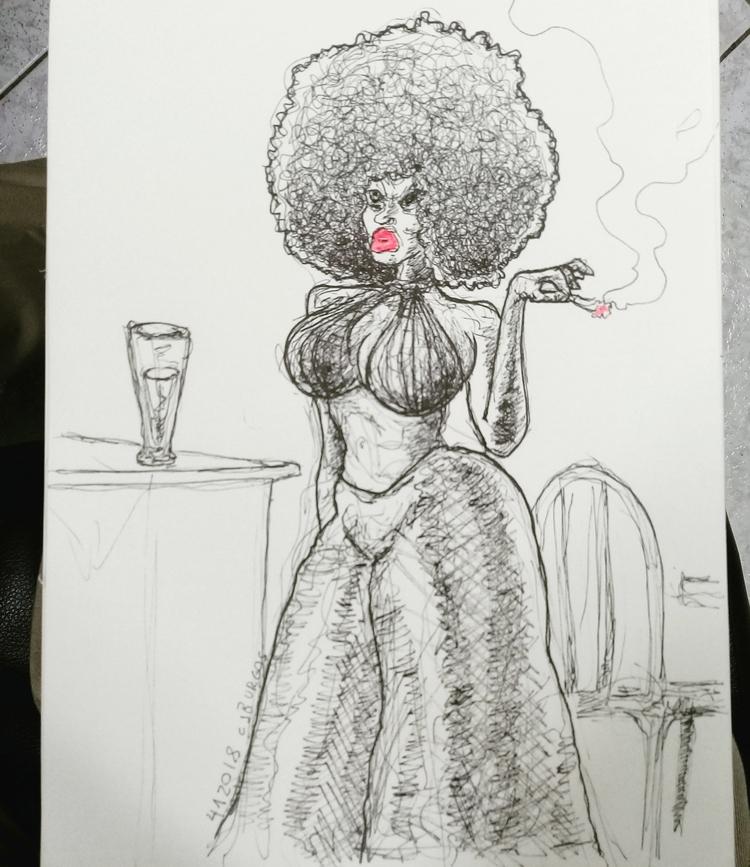 afro, pinup, lineart, illustration - cjburgos | ello