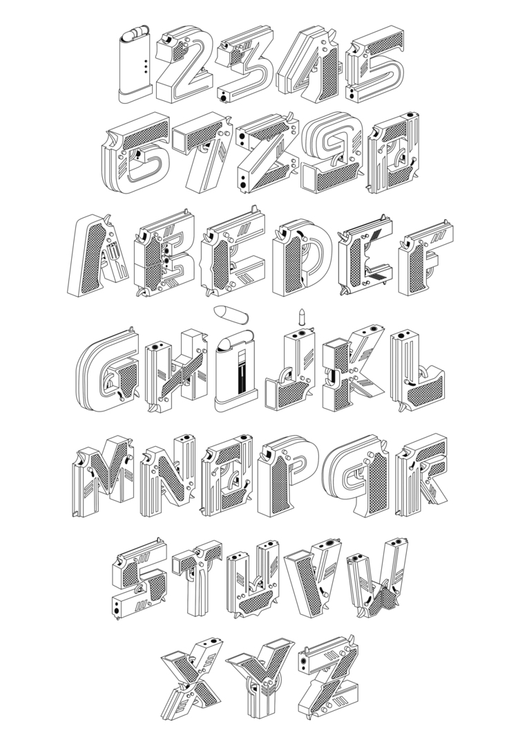 buy GunGunType - Typography, Gun - tomrouleau | ello