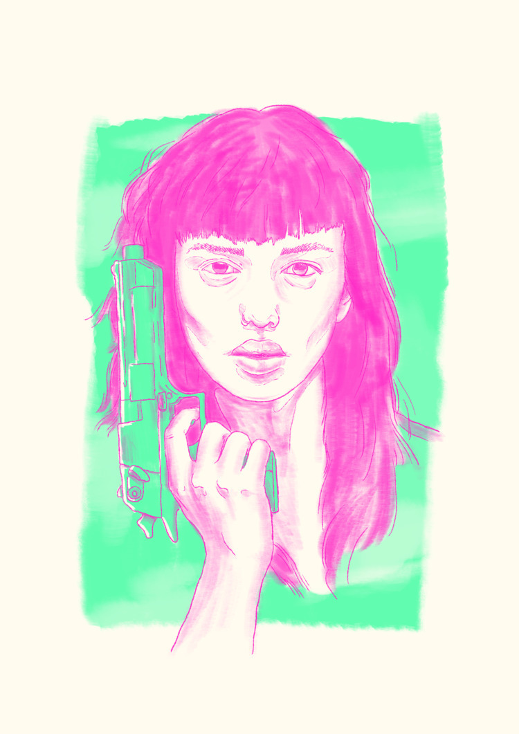 girl, girlpower, guns, risograph - petrazzini | ello