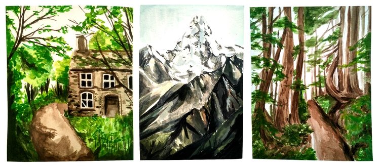 Gouache landscape studies - illustration - acha | ello