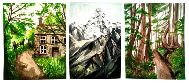 Gouache landscape studies - illustration - acha | ello