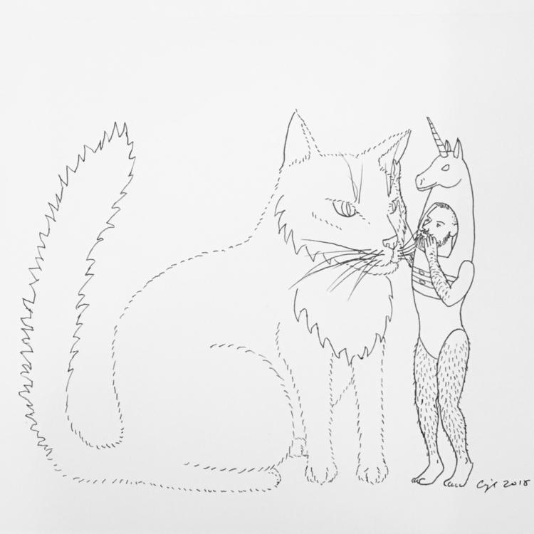 """Cat Whisperer"", 2017, pigment  - cupidojala | ello"