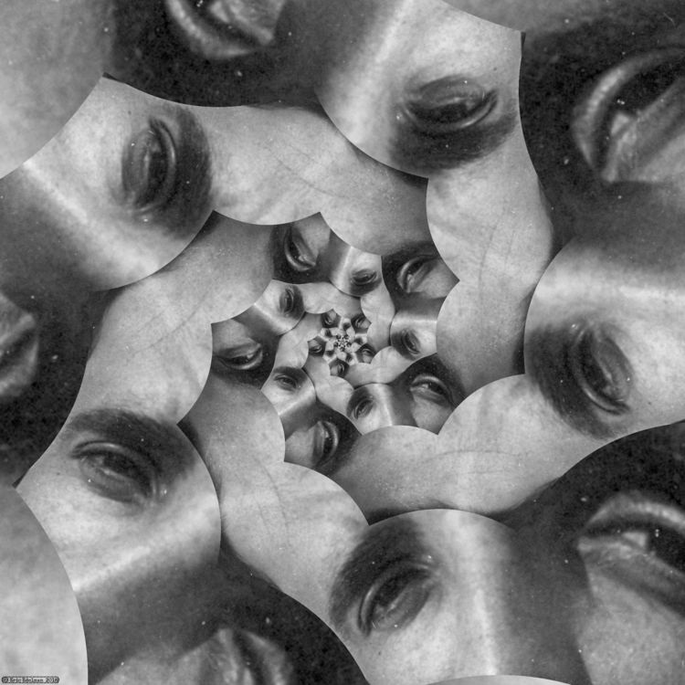 Eyeflower XVI (2018). Spiral ét - retrocollage | ello