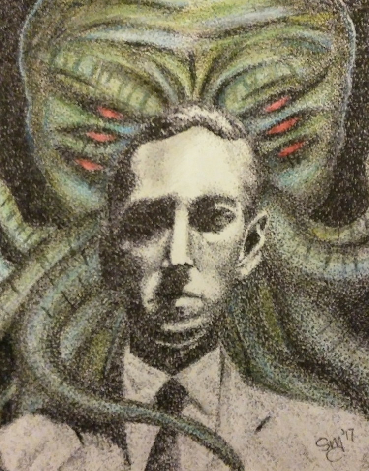 finished HP Lovecraft piece - pointillism - thatdotgirl | ello