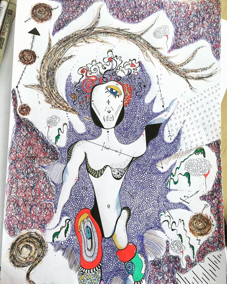 Female Acrylic,ink paper 16/12 - jsilverhoof | ello