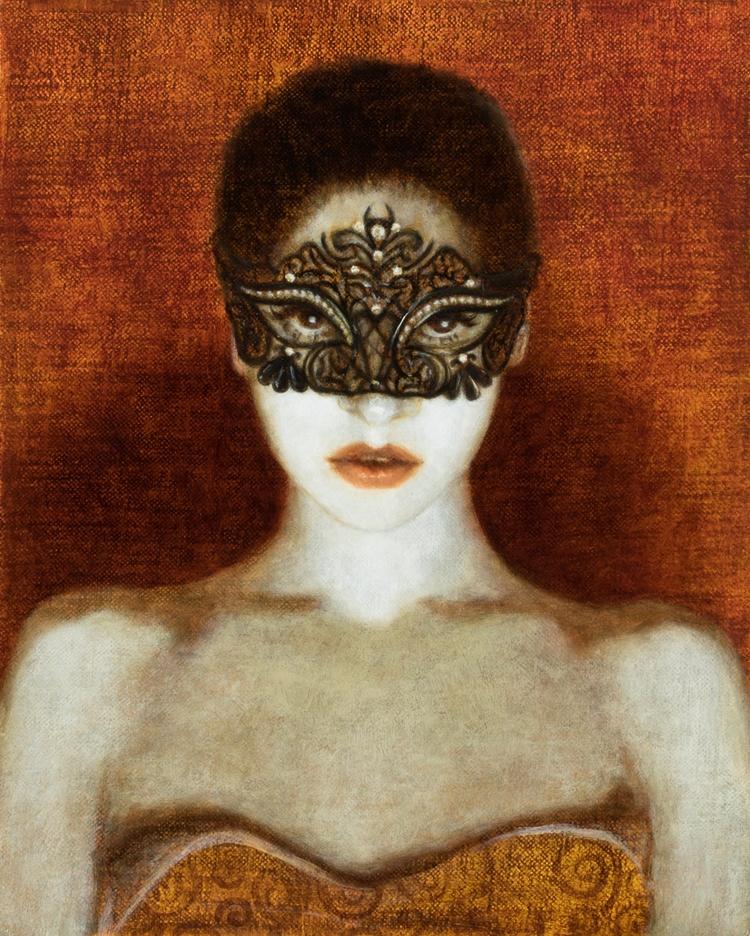 Mask Girl oil egg tempera, 8x10 - deirdresullivanbeeman | ello